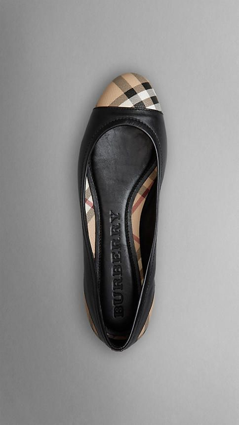 d93d5d718f2 Classy! Check Detail Nappa Leather Ballerinas