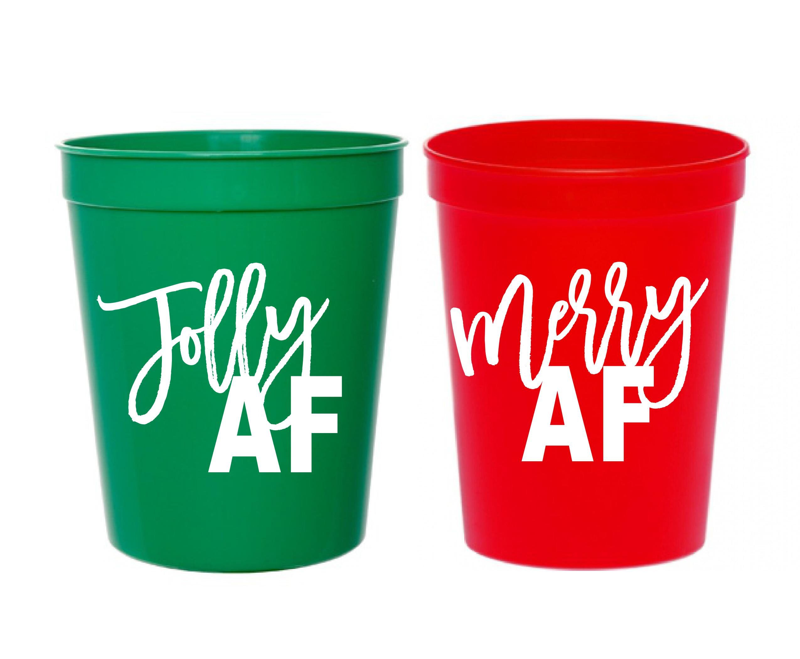 Christmas Cups Christmas Party Cups Jolly Af Merry Af Christmas Party Decor Christmas Party Decorations G Christmas Party Cups Party Cups Christmas Party