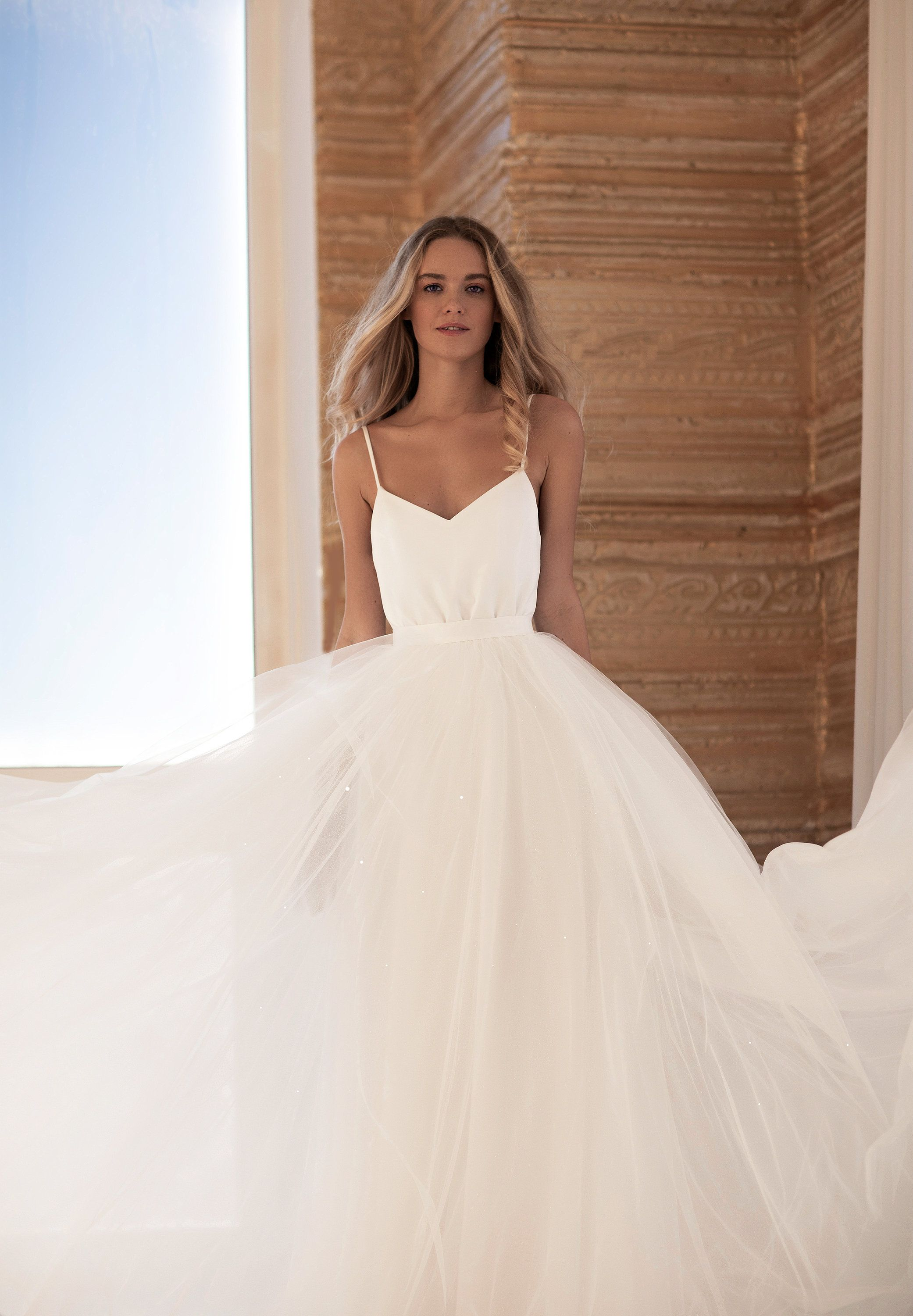 Transformer 2in1 A Line Dress Separate Lush Sparkly Skirt Soft Tulle Laconic Minimalist Wedding Dress Prue Minimalist Wedding Dresses A Line Wedding Dress Wedding Dresses