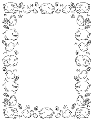 Free Printable Cute Page Borders Barn Animals Black And White Page Borders