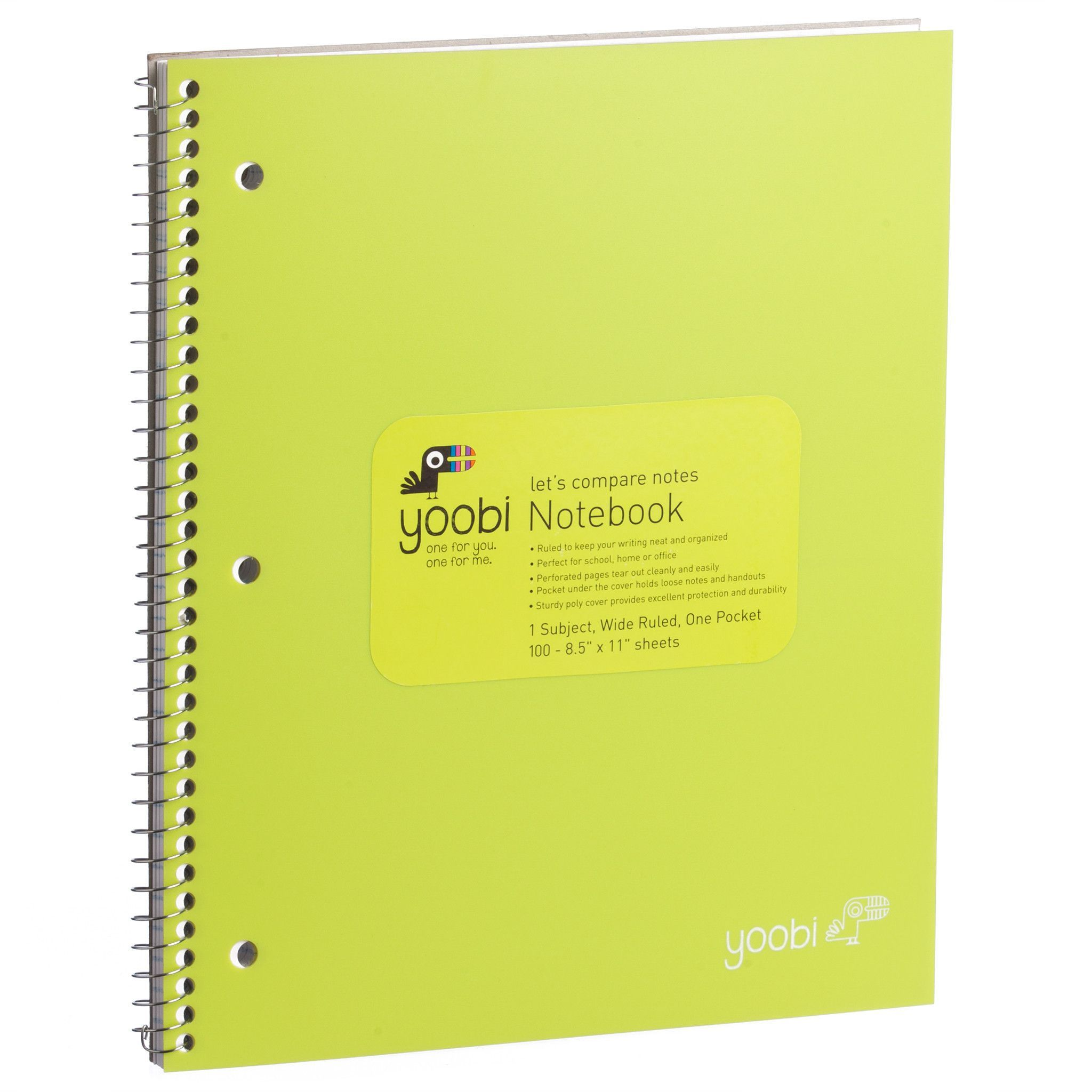1 Subject Spiral Notebook, Wide Ruled - Green | all things