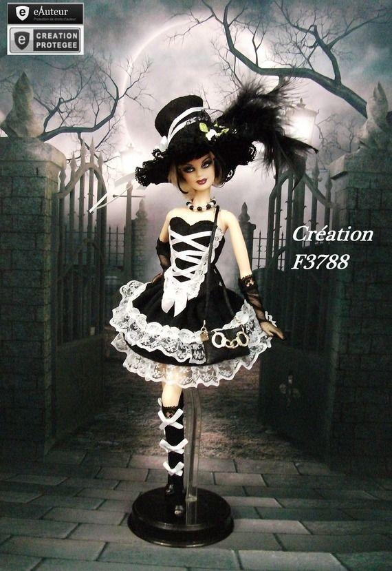 robe barbie gothique lolita n 10 tenue pour poup e barbie fr silkstone f3788 barbie. Black Bedroom Furniture Sets. Home Design Ideas