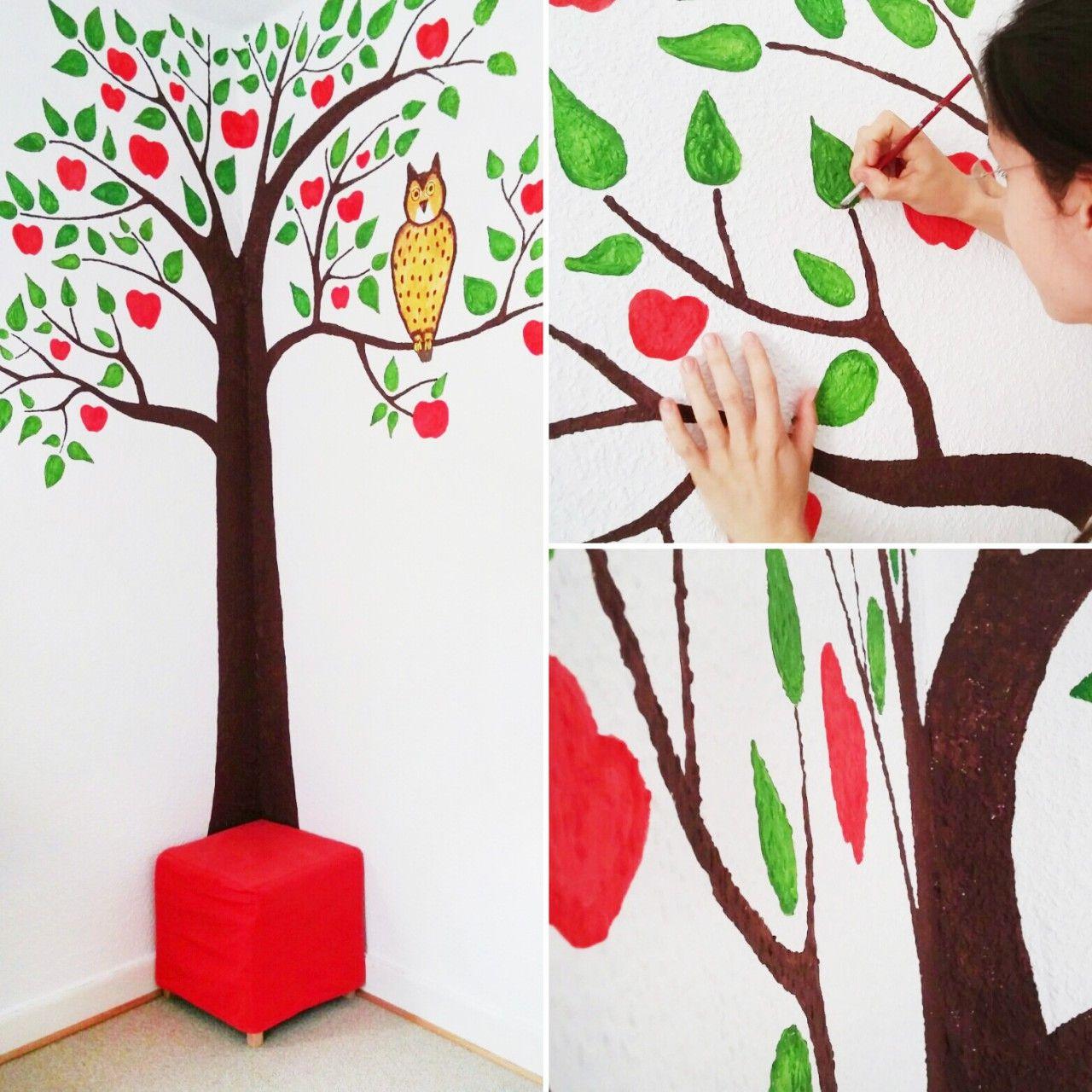 kinderzimmer malen apfelbaum in kinderzimmer malen kinderzimmer diy ideen. Black Bedroom Furniture Sets. Home Design Ideas