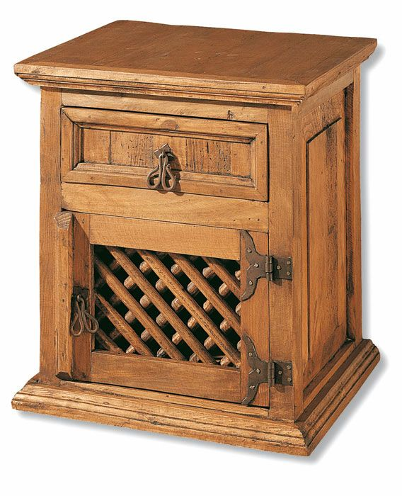 Mesita de noche rústica original con puerta y cajon, muebles ...