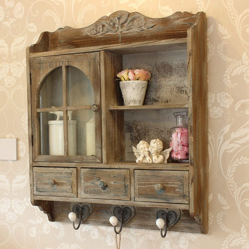 Heavy Distressed Wooden Wall Cabinet With Hooks New To Melody Maison Muebles Pequenos Muebles Rusticos Muebles Bonitos