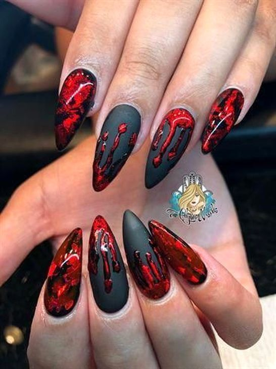 30 Amazing Summer Nails Art Ideas For 2019 Goth Nails Halloween Nail Designs Halloween Nail Art