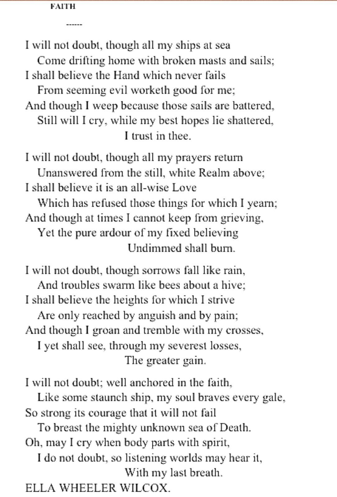 One Of My Favorite Poems By Ella Wheeler Wilcox Inspirational