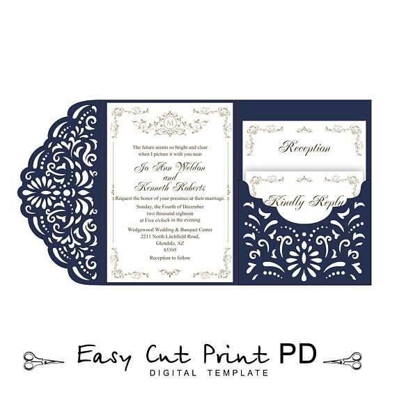 Wedding Invitation Tri Fold Filigree Lace Pocket Envelope 5x7 Card