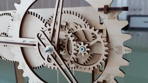 REAL WOODEN CLOCK (assembly kit)  Wooden gear  Mechanical