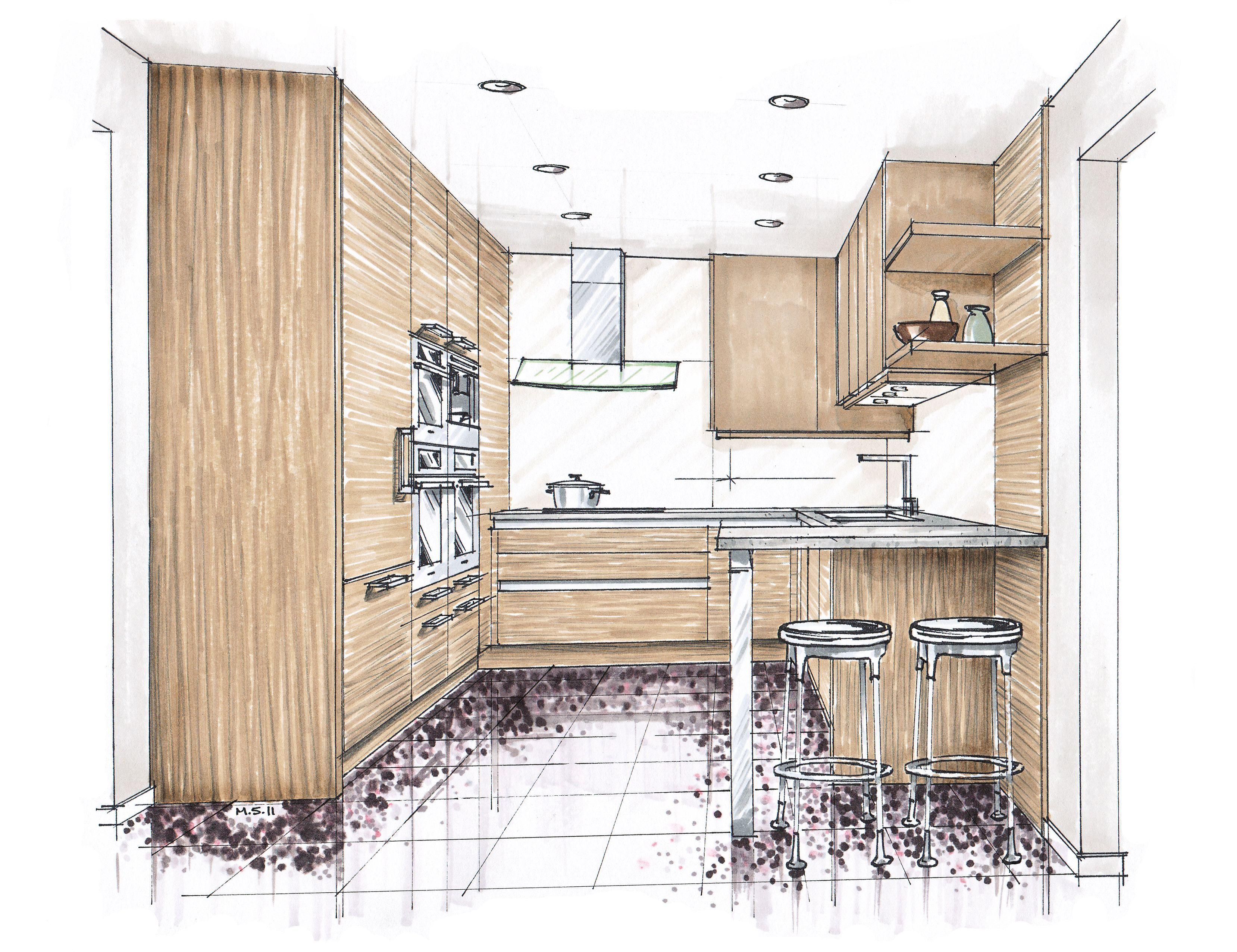 Sketch Perspective Interior Office Bedroom Into A ...  |Interior Design Color Sketches