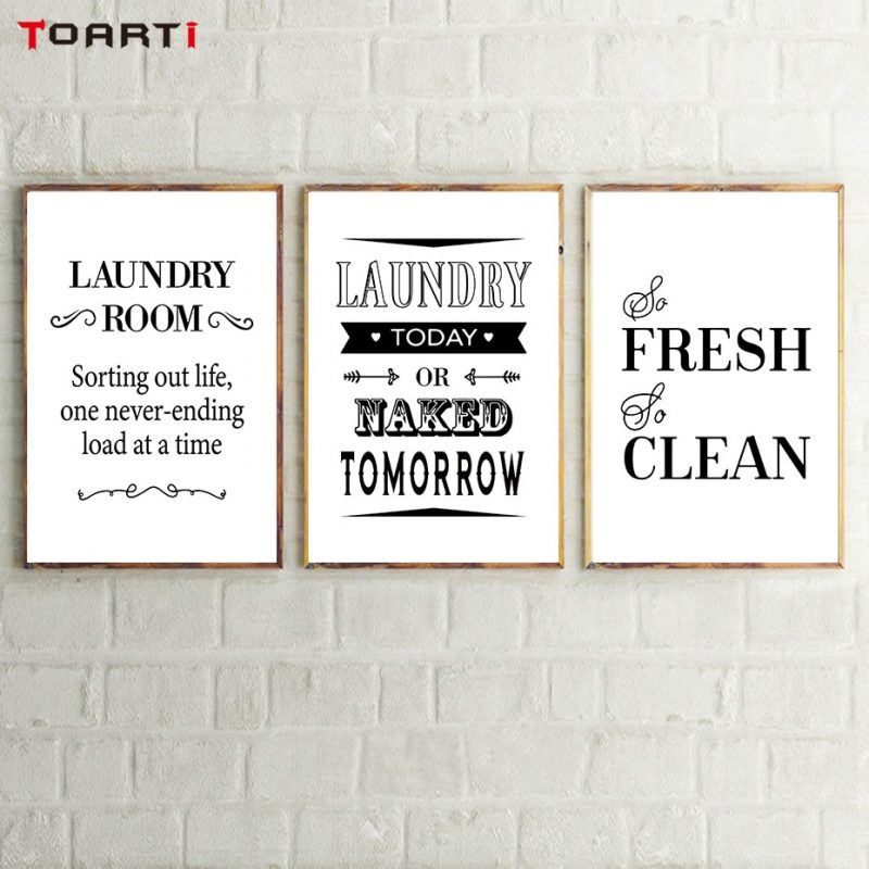 Laundry Room Decorative Posters Prints Modern Clean Quotes Canvas Painting For Bathroom Home Decor Wall Art Pictures Family Gift Cleaning Quotes Painting Bathroom Canvas Quotes