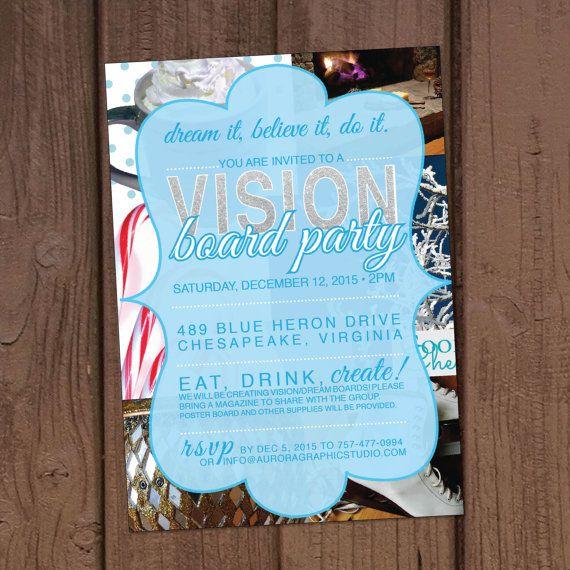 Holiday Christmas Vision Board Party Invitation Winter Christmas