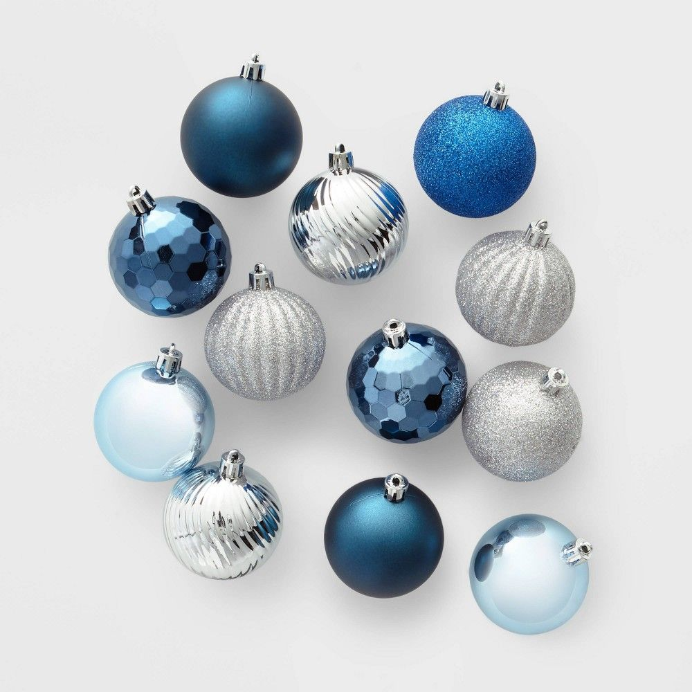 100ct Christmas Ornament Set Blue and Silver