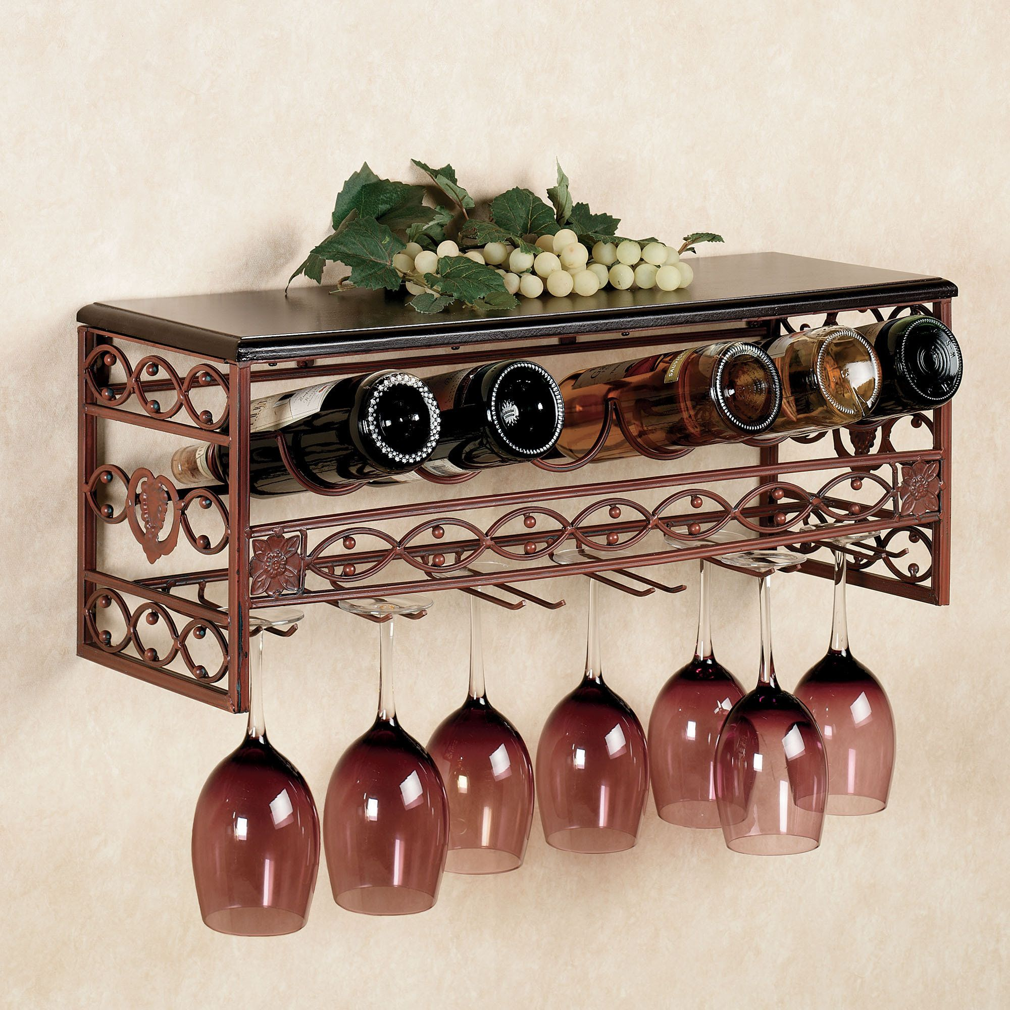 bar stemware racks   Vicenza Metal Wine and Stemware Wall Rack ...