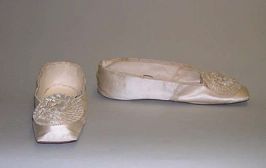 Slippers 1835, American, Made of silk and leather
