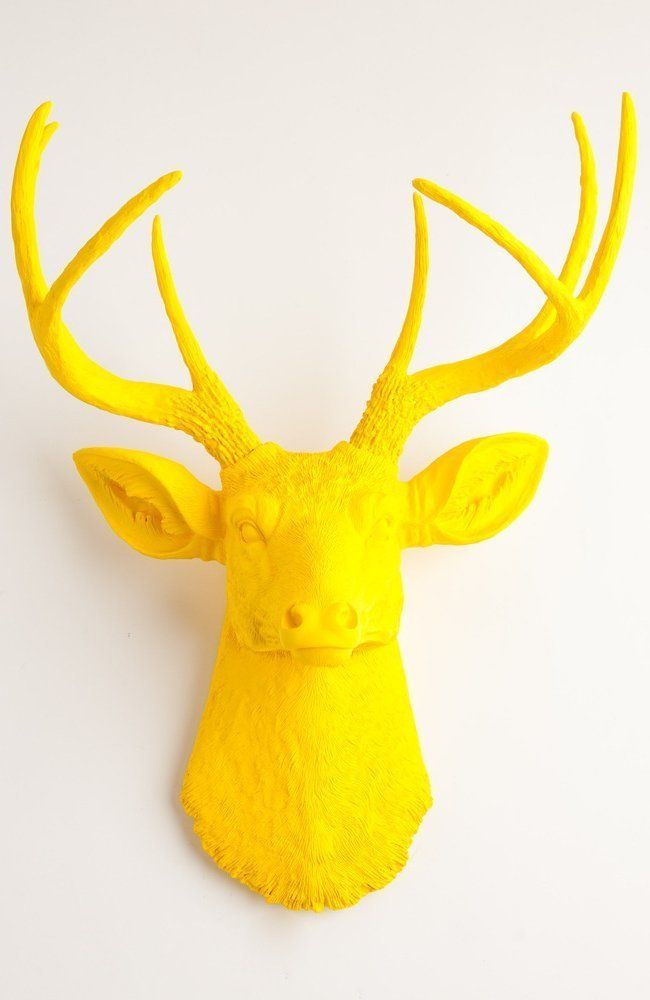 Yellow Faux Deer Head Wall Mount - The Pablo By White Faux Taxidermy ...