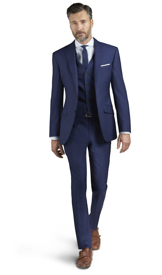 Kensington Blue Italian Wool 3 Piece Slim Fit Suit 369702b4ade