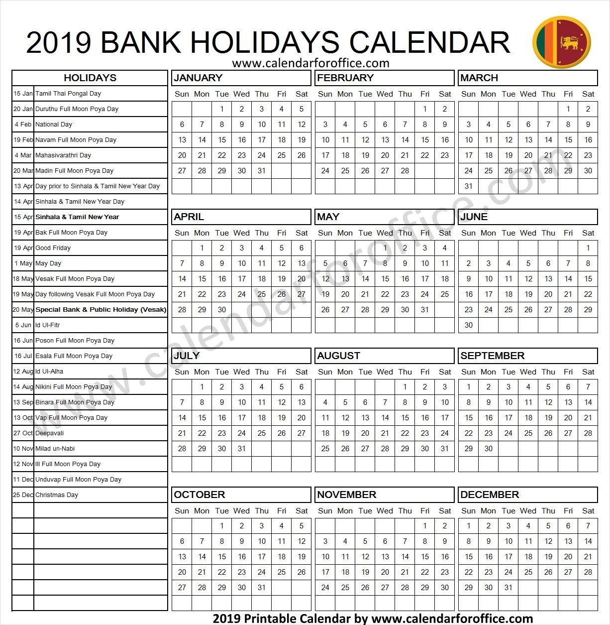 2019 Calendar Sri Lanka Holidays Calendar 2019 Calendar Holiday