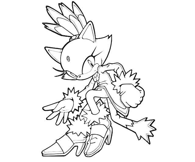 Blaze Sonic Coloring Page