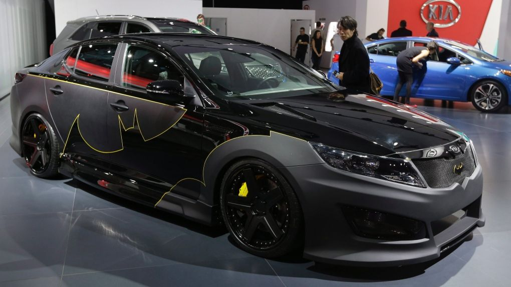 the batman decorated kia optima is displayed at the north american international auto show in. Black Bedroom Furniture Sets. Home Design Ideas