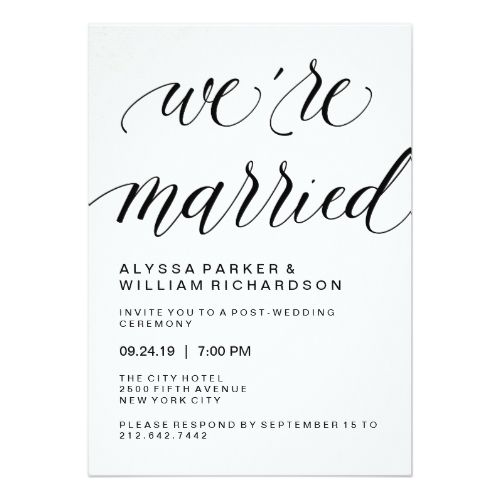 Elegant Simple Typography Post Wedding Ceremony Card Simple