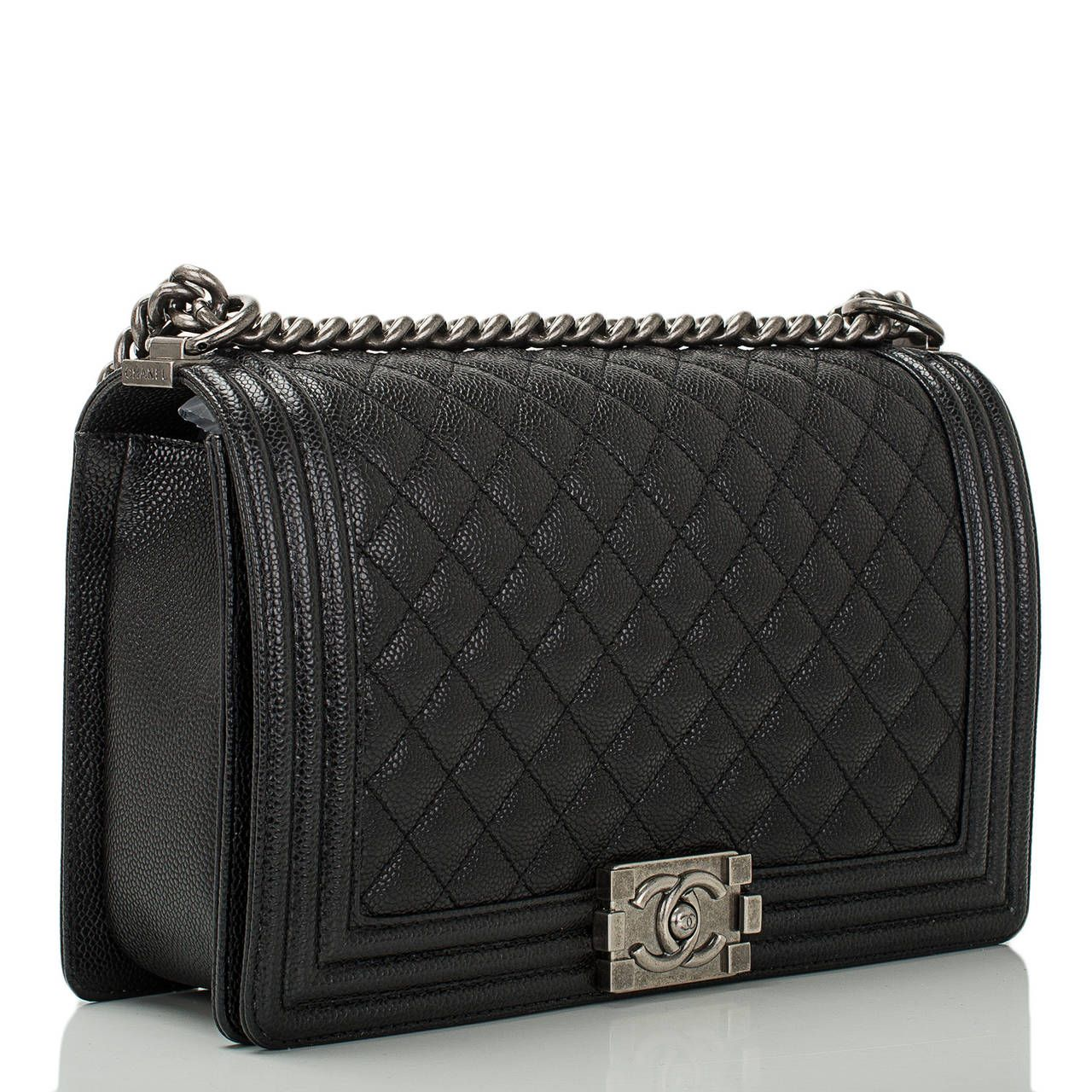 6f4441780932 On the waitlist, coming soon. Yay! Chanel Quilted Boy Bag New Medium in  Black Caviar with Ruthenium Hardware
