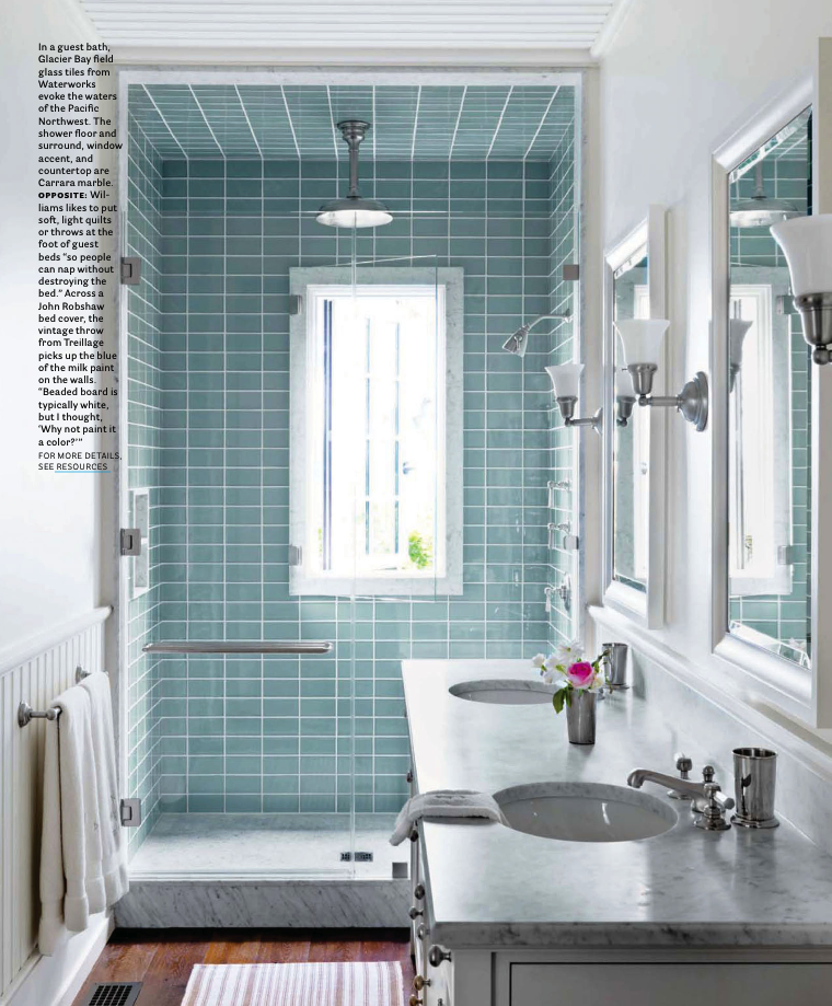love how the shower bathroom tile is different color than the rest of the room, makes it pop. @Kelly Merritt