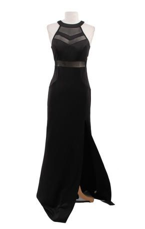 Emerald Sundae Cjh1003 Black Gown With Sheer Panels And High Slit
