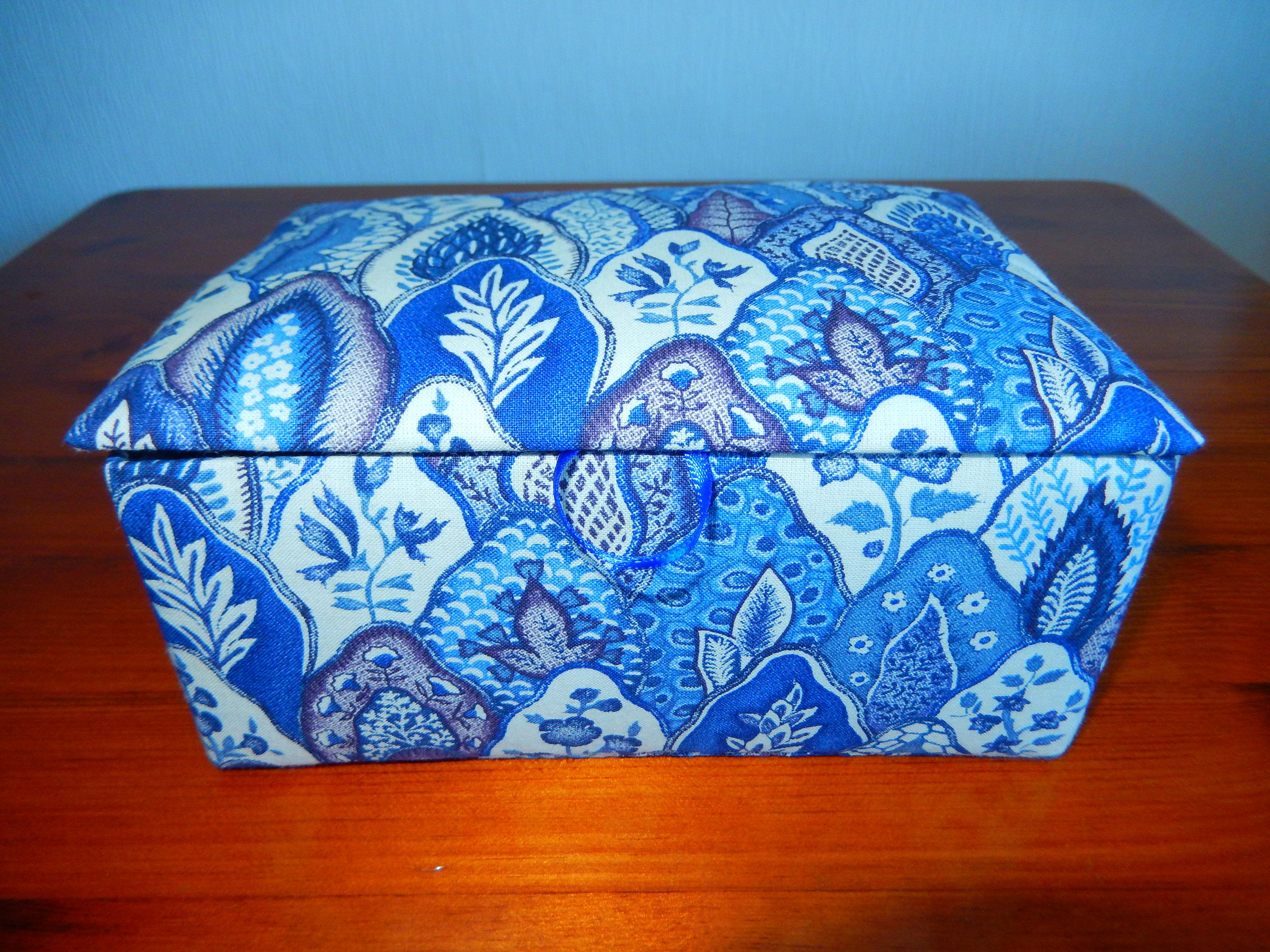 Fabric covered trinket box handmade padded and lined