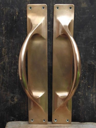 Pair Of Late Victorian Large Brass Door Pull Handles Old Reclaimed