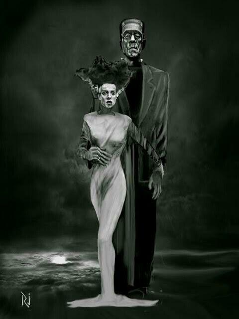 The Bride The Monster Terror Sombras Monstruos Vampiros Caricaturas Dibujos