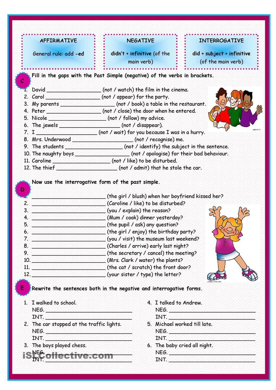 Past Simple Of Regular Verbs Past Simple Worksheet Pinterest