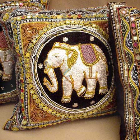 Elephant Art Decorative Throw Pillows --- They sold these all over Thailand. I've collected a few over the years ;)