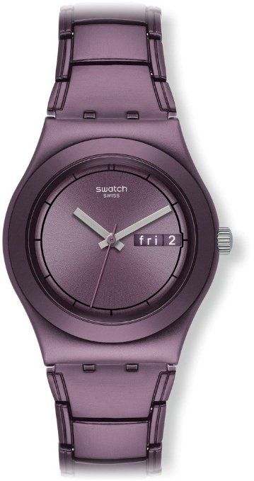 7c6a713757c Swatch Women s Irony Purple Aluminum Swiss Quartz Watch with Purple Dial