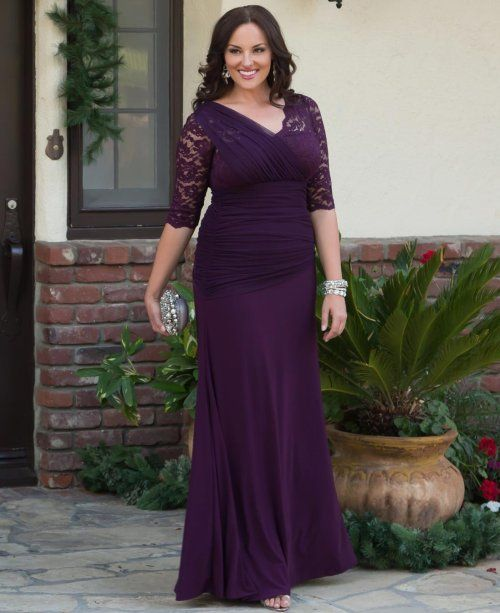8 Long Plus Size Mother Of The Bride Dresses With Sleeves Beautiful Puprle Dress V Neck Three Quarter Lace
