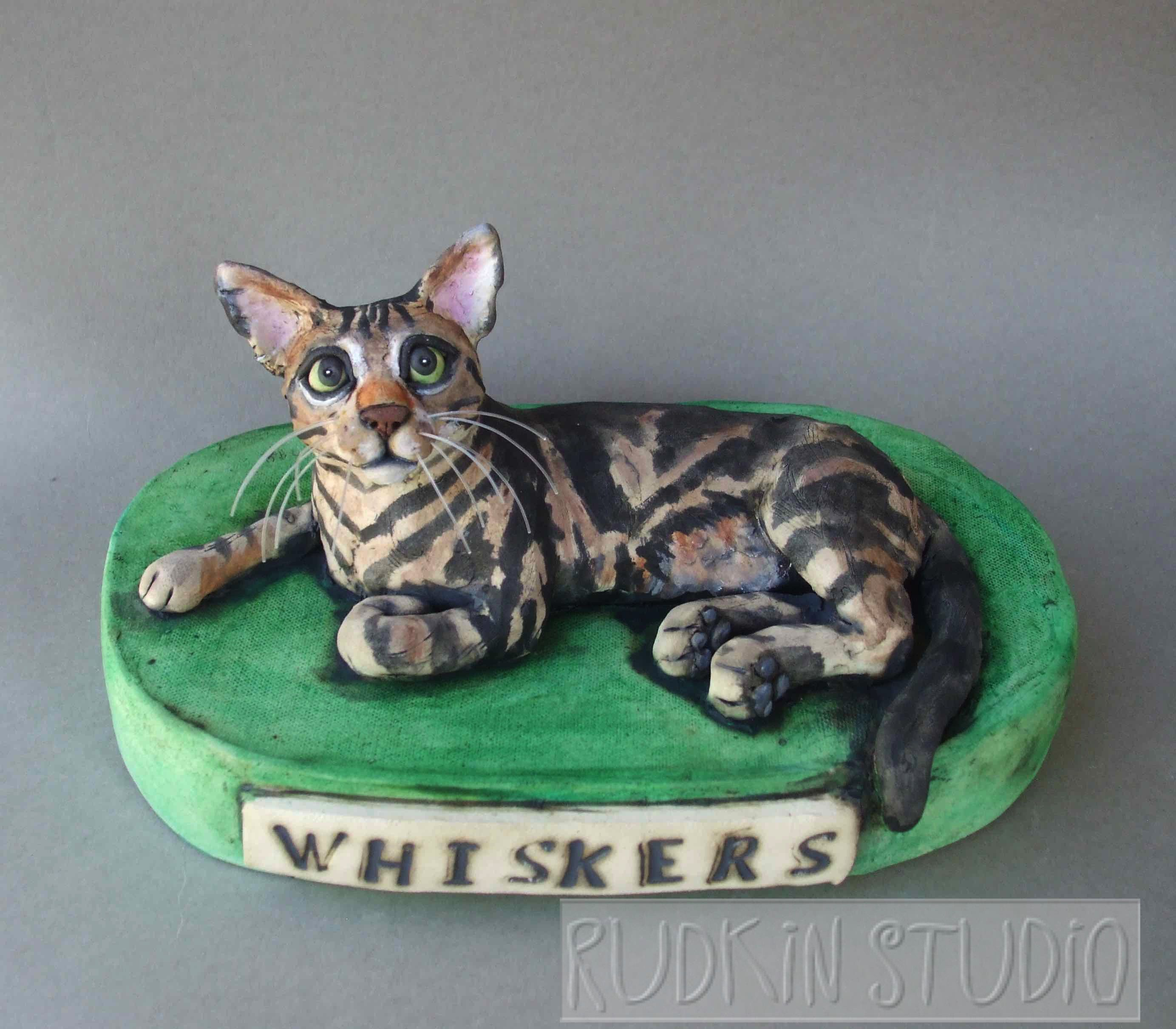 Whiskers the cat custom pet sculpture from Rudkin Studio
