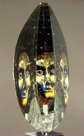 "Bertil Vallien (Swedish, 1938), Kosta Boda, ""Janus"" Sand Cast Glass Sculpture with Internal Ornamentation."