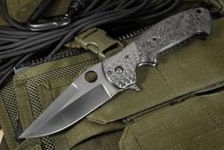 Exclusive Crawford Midnight Kasper Marble Carbon Fiber And Black Dlc Flipper Rmj Tactical Carbon Fiber Custom Knife