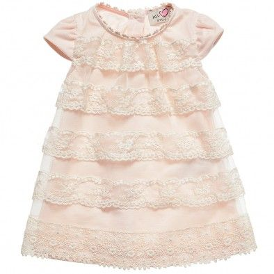 Ki6 Baby Girls Pink Tulle and Lace Dress at Childrensalon.com