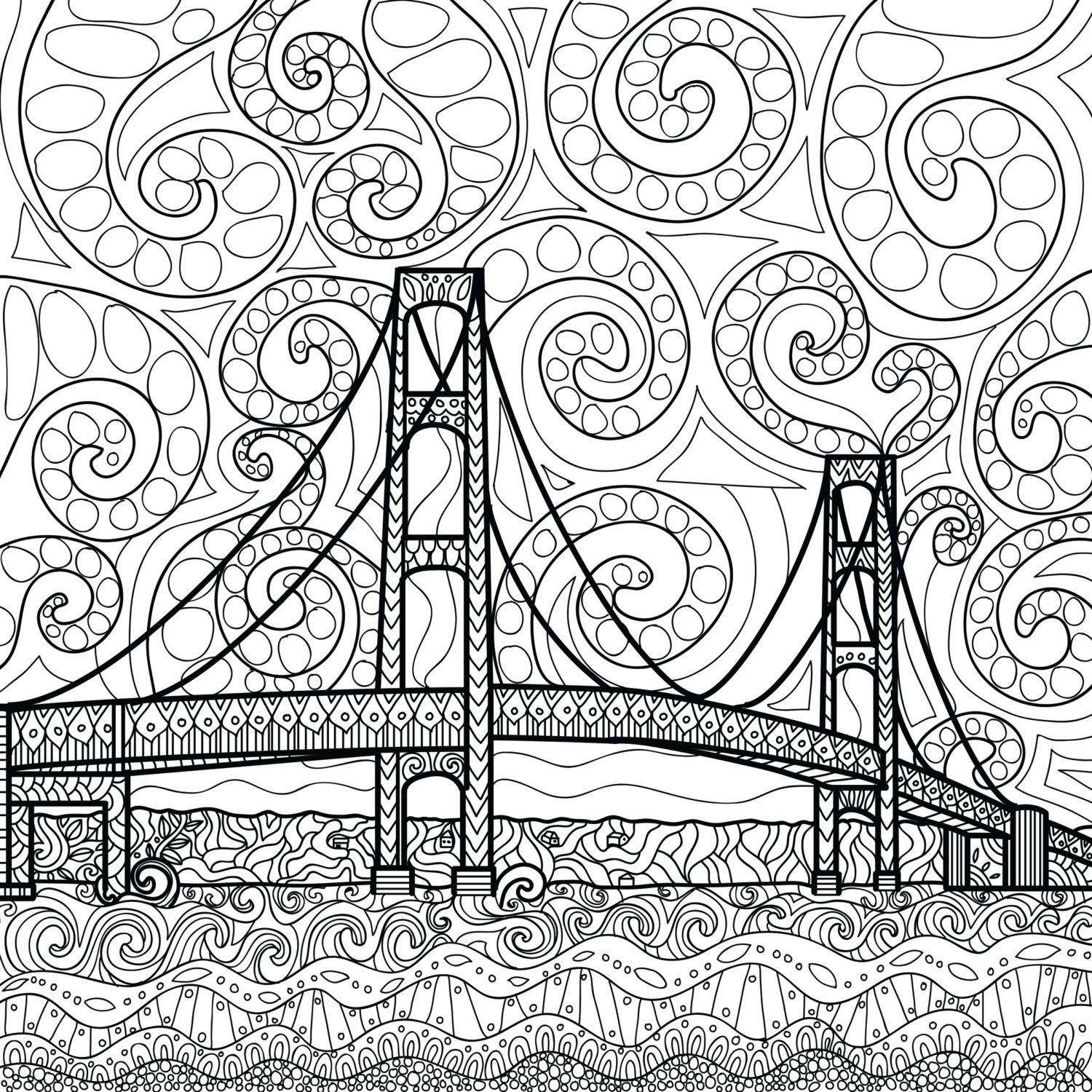 Printable Coloring Page Zentangle Mackinac Island Coloring