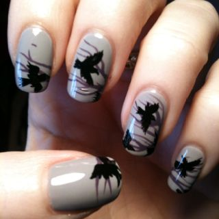 cool nails love the birds but it would never last on my