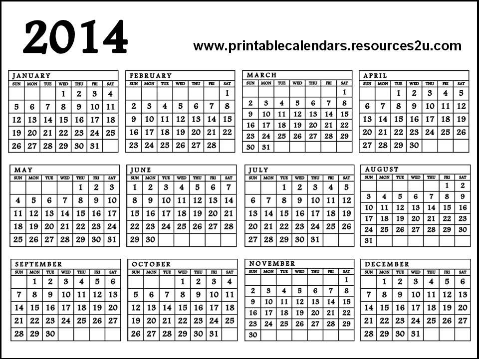 graphic regarding Printable Calendar on One Page identify Calendar 2014 Printable A single Webpage Totally free printable Calendar