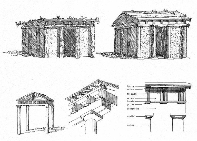 the evolution of classical architecture from the primitive hut to the classical temple  sketches
