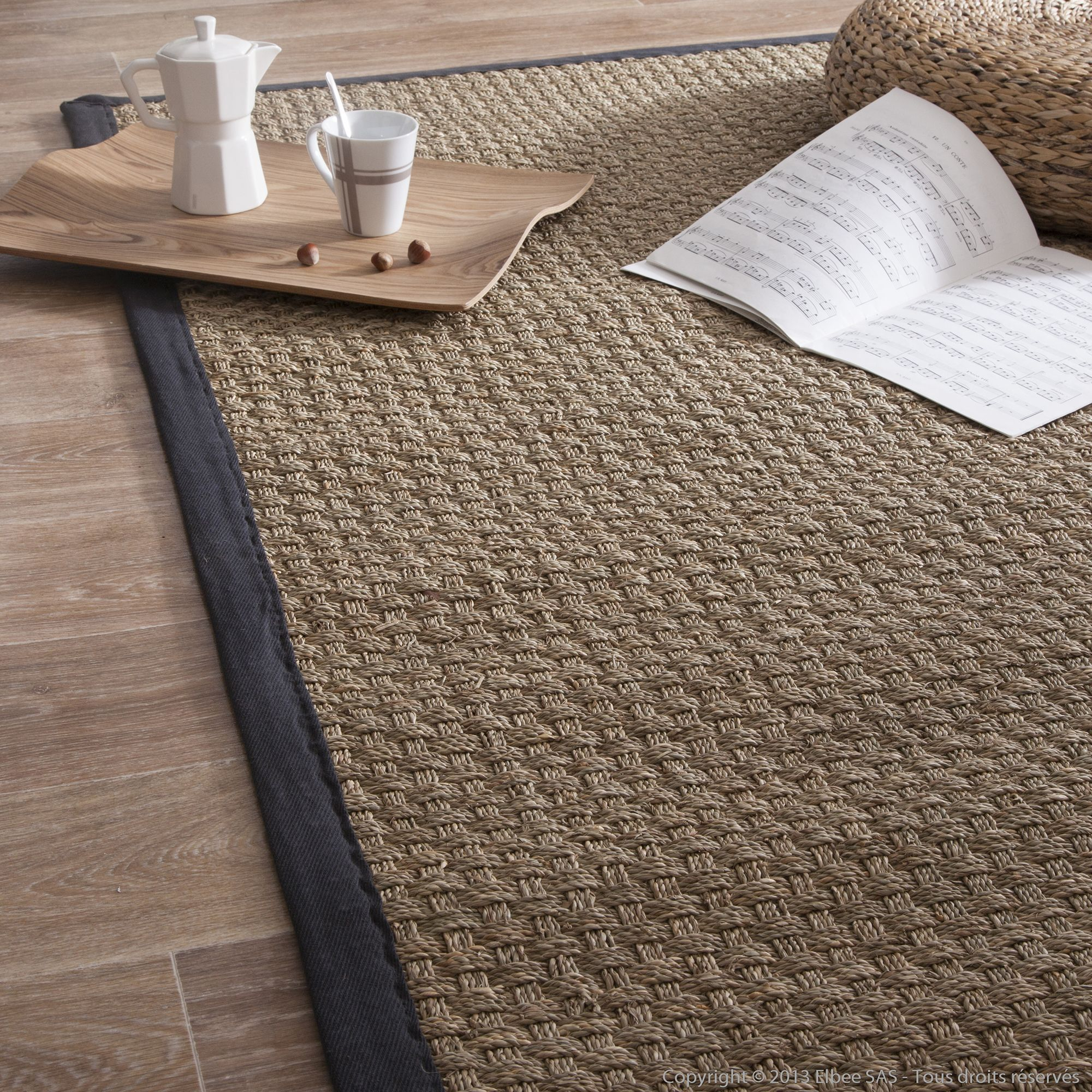 tapis jonc de mer tissage large avec ganse en coton essential chez nous pinterest salons. Black Bedroom Furniture Sets. Home Design Ideas