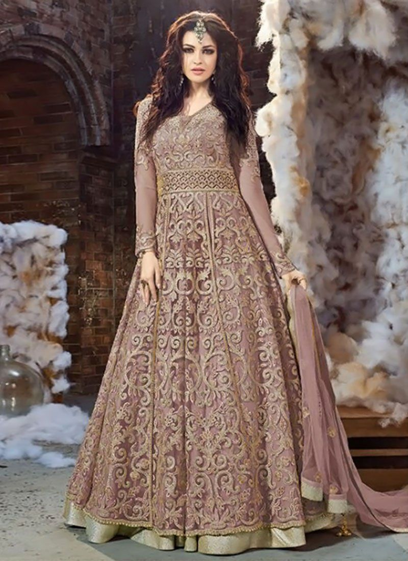 afd4a5e140 Buy Mauve Net Layered Anarkali Suit online from the wide collection of  anarkali-suit.