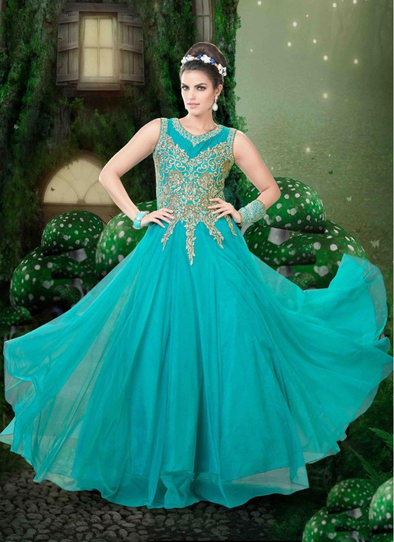 Fab Embroidered Net Turquoise Designer Gown Showcase a blend of ...