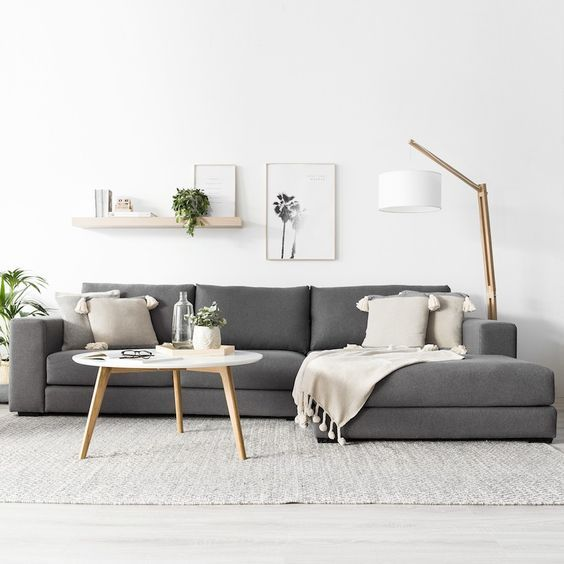 Modern And Scandinavian Design With White Interiors And Grey Sofa Scandinavian Design Living Room Living Room Scandinavian Minimalist Living Room Design
