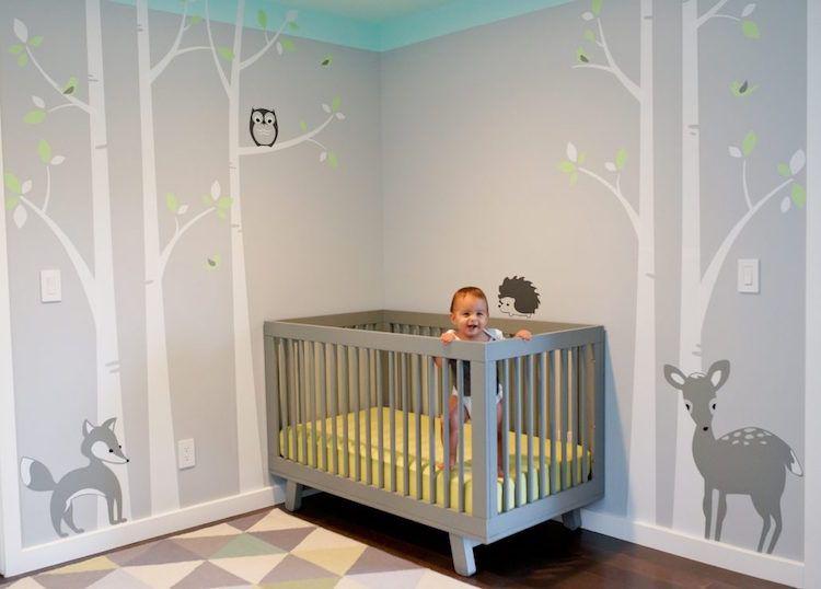 Graues Babyzimmer Dekoration : Wald kinderzimmer dekoration baby babybett grau modern