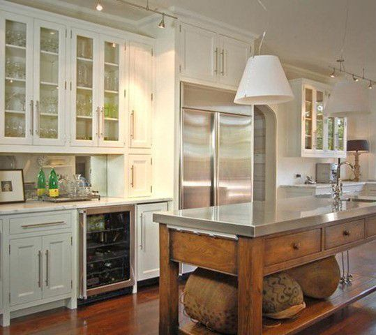 like the stainless steel top on island table | keuken | Pinterest