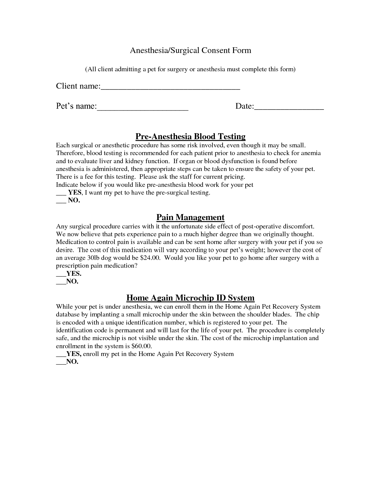 Research consent form template for Surgery consent form template